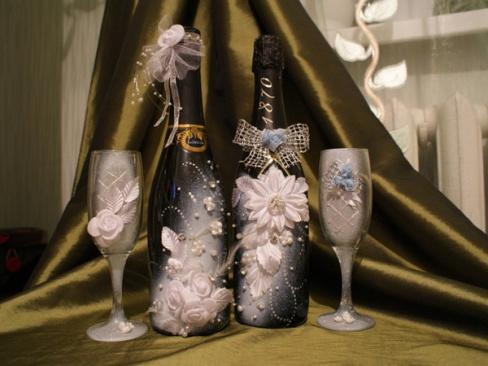 Как своими руками оформить бутылку шампанского
