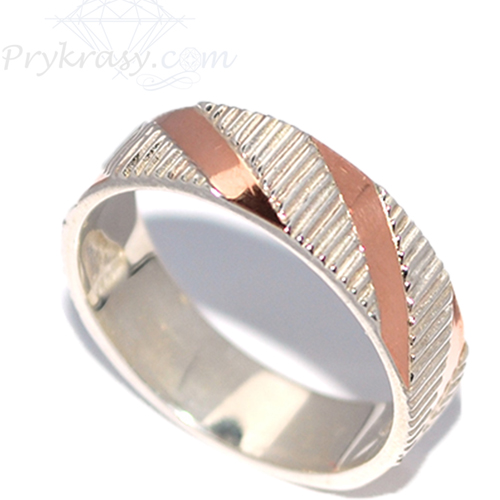 Кольца из серебра с золотыми вставками